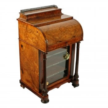 Victorian Cylinder Top Davenport Desk