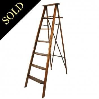 Edwardian Oak Library Ladders