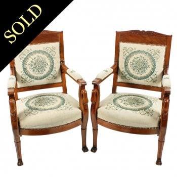 Pair of Mahogany Empire Arm Chairs