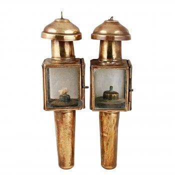 Pair of Miniature Hanging Oil Lamps