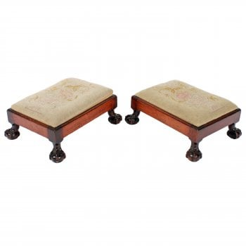 Pair of Chippendale Style Foot Stools