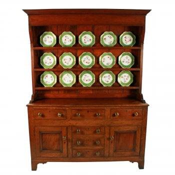 Georgian Oak & Mahogany Dresser & Rack