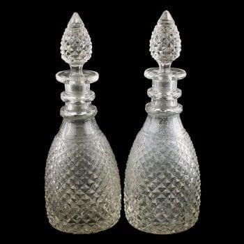 Pair of Georgian Cut Glass Decanters
