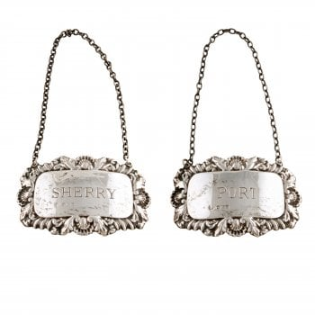 Pair of Sterling Silver Decanter Labels