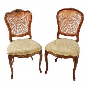 Two Walnut Bergére Salon Chairs