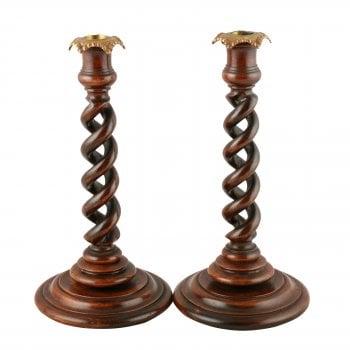 Pair of Walnut Spiral Candlesticks