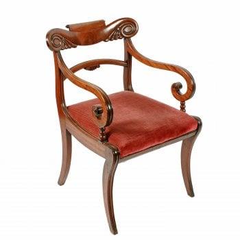 Georgian Mahogany Sabre Leg Chair