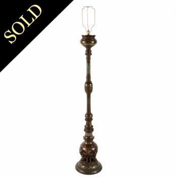 Japanese Bronze & Cloisonné Standard Lamp