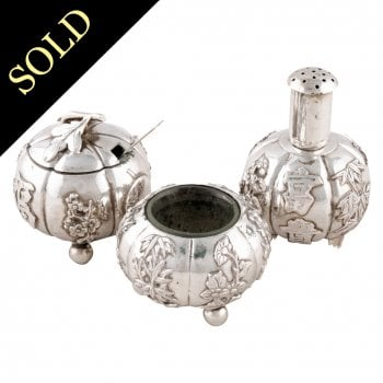 Chinese Silver 3 Piece Condiment Set