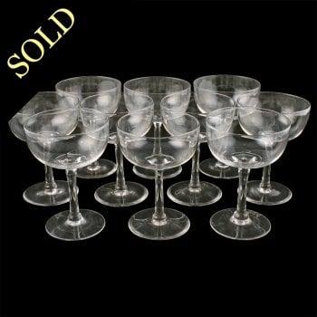 Set of Ten Champagne Glasses