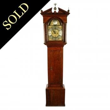 George II Brass Dial  Oak Grandfather Clock