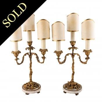 Pair of Ormolu Candelabra Lamps