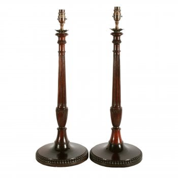 Pair of Mahogany Candlestick Lamps