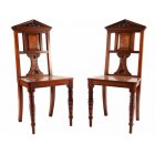 Pair of Walnut Hall Chairs