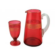 Victorian Ruby Glass Jug & Goblet