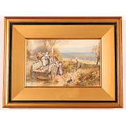 19th Century Myles Birket Foster Print 'A Peep at the Hounds'