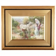 19th Century Myles Birket Foster Print 'The Pet of the Common'