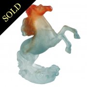 French Glass Pate De Verre Horse by Daum