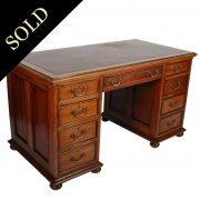 Edwardian Oak Pedestal Desk