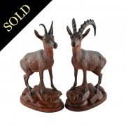 Pair of Carved Wood Chamois