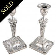 Pair of Adams Design Sterling Silver Candlesticks