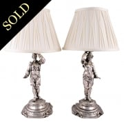 Pair of Silver Metal Table Lamps