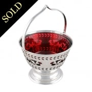 Edwardian Silver & Ruby Glass Basket