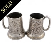 Pair of Engraved Plated Tankards