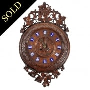 French Carved Wood Wall Clock