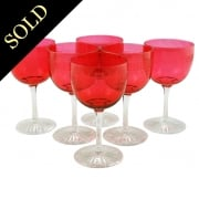 Six Ruby Wine Glasses