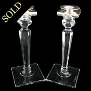 Pair of Art Deco Glass & Silver Candlesticks