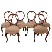 Six Walnut Cabriole Leg Chairs