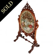 Fine Victorian Walnut Fire Screen