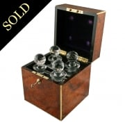 Burr Walnut & Brass Decanter Box