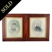 Pair of Rosewood Framed Portraits