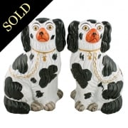 Pair of Victorian Staffordshire Pottery Dogs