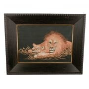 Japanese Silk Picture of Lions