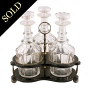 Lacquered Three Bottle Decanter Stand