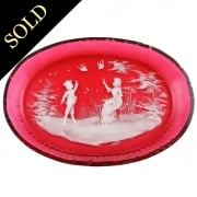 Mary Gregory Ruby Glass Tray