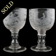 Pair of Engraved Hunt Goblets