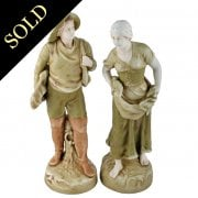 Pair of Bohemian Amphora Fishing Figures