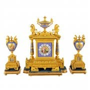 French Ormolu & Porcelain Clock Garniture