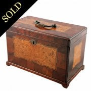 George II Burr Elm & Mahogany Tea Caddy