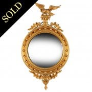 Regency Style Gilt Wood Convex Mirror