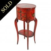 Red Chinoiserie Lamp Table