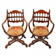Pair of Walnut 'X' Frame Arm Chairs