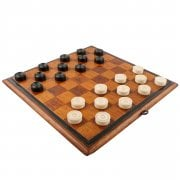 Oak Draughts Board & Dominoes Set