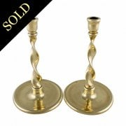Pair of Brass Spiral Candlesticks