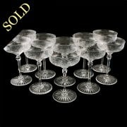 Set of 10 Etched & Cut Champagne Glasses