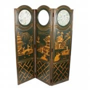 Lacquered Chinoiserie Three Fold Screen